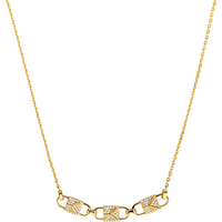shop for Michael Kors Mercer Link 14ct Gold Plated Pave Necklace at Shopo