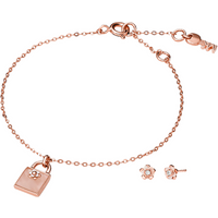 shop for Michael Kors Kors Colour Rose Gold Plated Bracelet & Earrings Set at Shopo