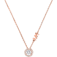 shop for Michael Kors Custom Rose Gold Tone Cubic Zirconia Necklace at Shopo