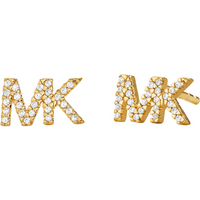 shop for Michael Kors Logo Yellow Gold Tone Cubic Zirconia Earrings at Shopo