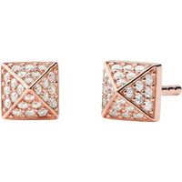 shop for Michael Kors 14ct Rose Gold Plated Pyramid Stud Earrings at Shopo