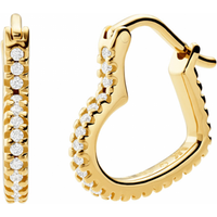 shop for Michael Kors Mini Heart 14ct Gold Plated Hoop Earrings at Shopo