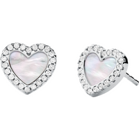 shop for Michael Kors Sterling Silver Pave Mother of Pearl Heart Earrings at Shopo