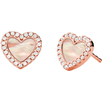 shop for Michael Kors 14ct Rose Gold Plated Pave Mother of Pearl Heart Earrings at Shopo