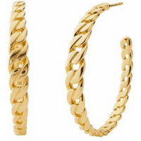 shop for Michael Kors Statement Link Yellow Gold Colour Hoop Earrings at Shopo
