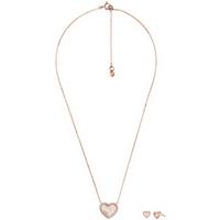 shop for Michael Kors Rose Gold Colour Heart Pendant and Earring Set at Shopo