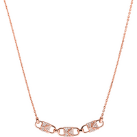 shop for Michael Kors Mercer Link 14ct Rose Gold Plated Pave Necklace at Shopo