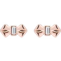 Ted Baker Rose Gold Crystal Bow Earrings.