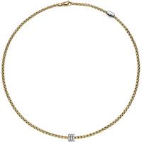 shop for Fope 18ct Yellow Gold Eka Tiny Diamond Necklace at Shopo