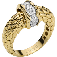 shop for Fope 18ct Yellow & White Gold Flex'it Love Nest Ring - Ring Size L at Shopo
