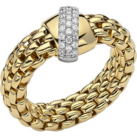 shop for Fope 18ct Yellow & White Gold Flex'it Vendome Ring - Ring Size P at Shopo