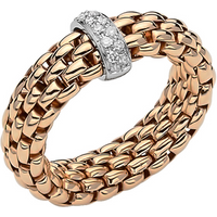 shop for Fope 18ct Rose & White Gold Flex'it Vendome Ring - Ring Size P at Shopo