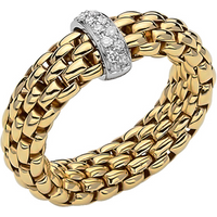 shop for Fope 18ct Yellow & White Gold Flex'it Vendome Ring - Ring Size K at Shopo