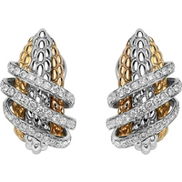 Fope 18ct Yellow and White Gold Solo MiaLuce Earrings