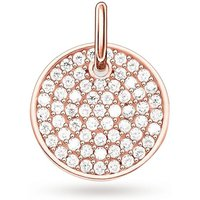 shop for Thomas Sabo Love Coins Rose Gold Plated Pave Disc Pendant Lbpe0011-416-14 at Shopo