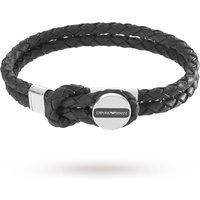 shop for Emporio Armani Mens Signature Black Leather Bracelet EGS2178040 at Shopo