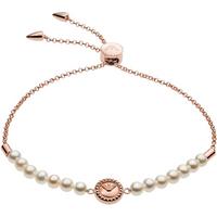 shop for Emporio Armani Rose Gold Coloured Fresh Water Pearl Slider Bracelet at Shopo