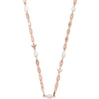 shop for Emporio Armani Rose Gold Coloured Logo Link Necklace at Shopo