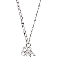 shop for Emporio Armani Signature Sterling Silver Mother Of Pearl EA Necklace at Shopo