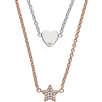 shop for Emporio Armani Two Coloured Gold Heart & Star Necklace at Shopo