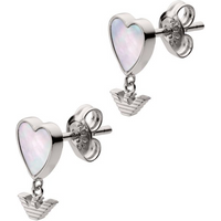 shop for Emporio Armani Silver & Mother of Pearl Heart Earrings at Shopo