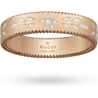 shop for Gucci Icon Blossom Rose Gold and White Enamel Band Ring - Ring Size I at Shopo