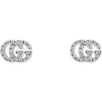 shop for Gucci Running G Pave 18ct White Gold Diamond Stud Earrings at Shopo