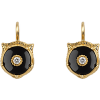 Gucci 18ct Yellow Gold Onyx & Diamond Feline Earrings