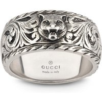 shop for Gucci Gatto Thin Silver 10mm Ring with Feline Head - Ring Size P at Shopo