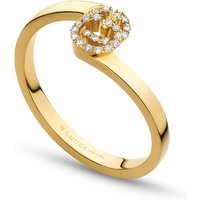 shop for Gucci Running G Ring in 18ct Yellow Gold with Diamonds - Ring Size M at Shopo