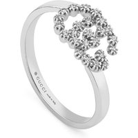 shop for Gucci Running G 18ct White Gold Ring with Diamonds - Ring Size M at Shopo