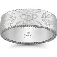 shop for Gucci Icon 18ct White Gold Enamel 6mm Ring - Ring Size N.5 at Shopo