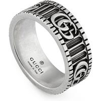 shop for Gucci GG Marmont Sterling Silver Ring - Ring Size J at Shopo