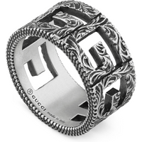 shop for Gucci Ring with Square G Motif in Silver - Ring Size O at Shopo