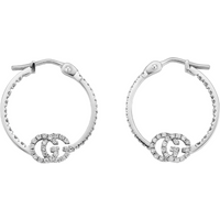 shop for Gucci 18ct White Gold Running G Hoop Earrings at Shopo