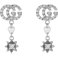 shop for Gucci 18ct White Gold Flower and Double G Diamond Drop Earrings at Shopo