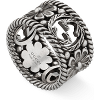 shop for Gucci Interlocking G Silver Ring - Ring Size M at Shopo