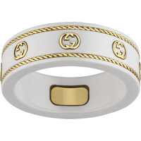 shop for Gucci Icon 18ct Yellow Gold Interlocking G Ring - Ring Size N at Shopo