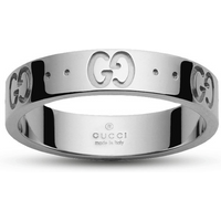shop for Gucci Icon 18ct White Gold Logo Band Ring - Ring Size J at Shopo