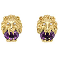 shop for Gucci 18ct Gold Amethyst & Diamond Lion Head Stud Earrings at Shopo