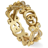 shop for Gucci 18ct Yellow Gold Diamond Flora Ring - Ring Size M at Shopo