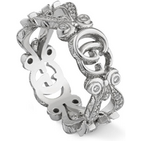 shop for Gucci 18ct White Gold Diamond Flora Ring - Ring Size M at Shopo