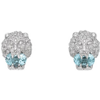 shop for Gucci 18ct White Gold Lionhead 0.75ct Earrings at Shopo