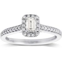 Jenny Packham Emerald Cut 0.50ct Halo Diamond Ring in 18c ....