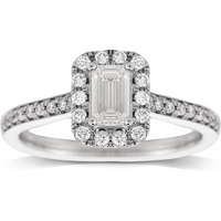 Jenny Packham Emerald Cut 0.90ct Halo Diamond Ring in 18c ...