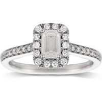Jenny Packham Emerald Cut 0.90ct Halo Diamond Ring in 18c ....