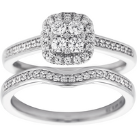 Jenny Packham Cluster 0.50ct Diamond Bridal Set in 18ct White Gold - Ring Size M