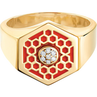 shop for Birks Bee Chic Red Enamel and Diamond Hexagon Signet Ring - Ring Size M at Shopo