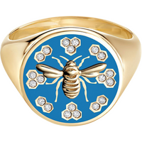 shop for Birks Bee Chic Large Blue Enamel and Diamond Round Signet Ring - Ring Size N at Shopo