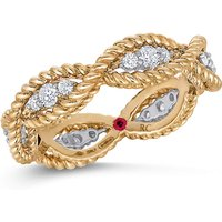 shop for Roberto Coin New Barocco 18ct Yellow Gold 0.48ct Diamond - Rings Size N at Shopo